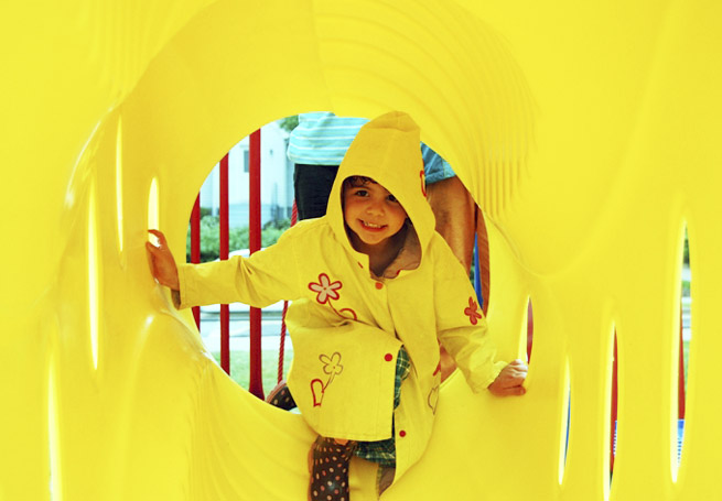 Grants Non-KaBOOM! - girl playing in yellow tunnel