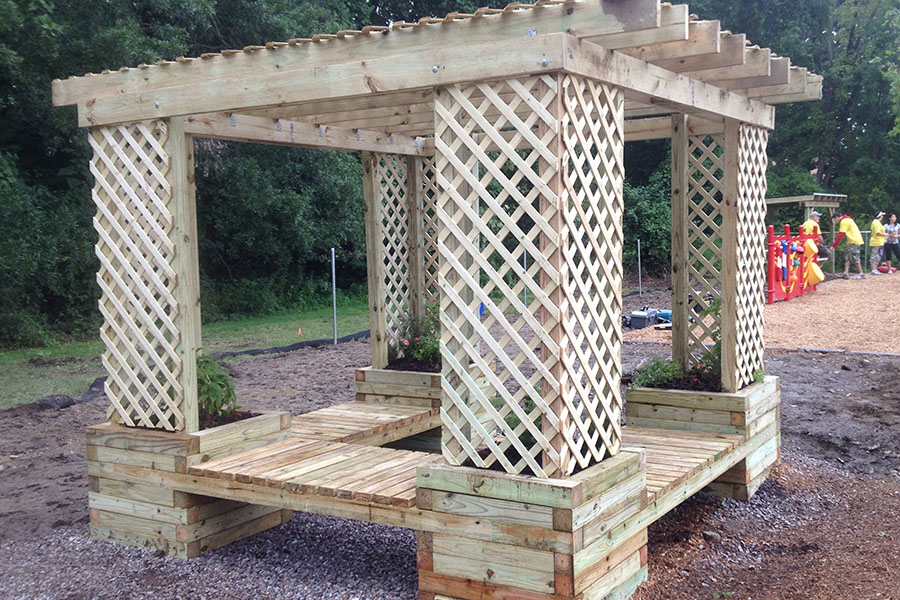 Planter Bench Shade Structure 1