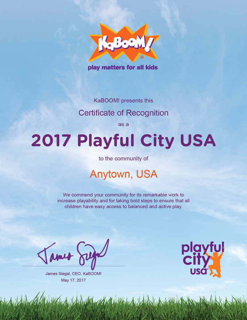 Playful City USA 2017 Recognition Certificate