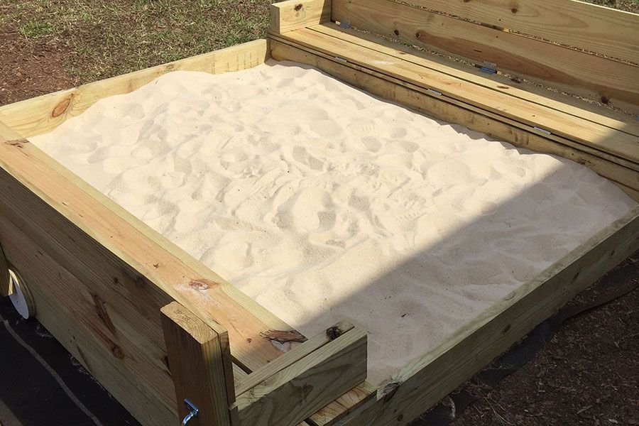 How to build a sandbox with folding lid and seats kaboom for Sandbox with built in seats plans