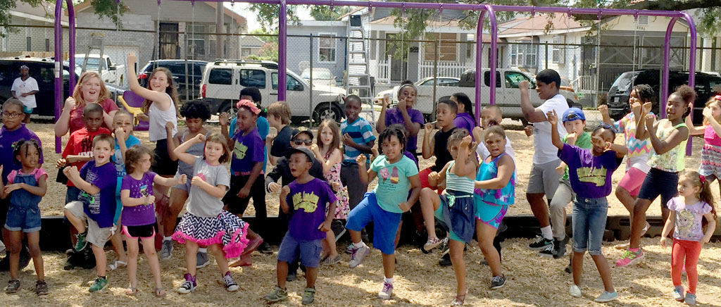 Kids dance at playground