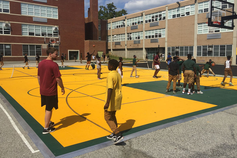 Hopscotch on a multi-sport court