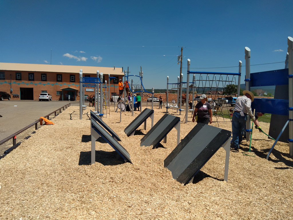Picture of a series of obstacles within a KABOOM! Adventure Course